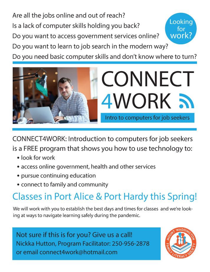 CONNECT4WORK Introduction to computers for job seekers program. Contact Nickka at 250-956-2878
